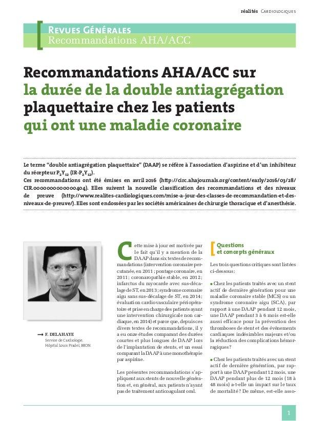 réalités Cardiologiques Revues Générales Recommandations AHA/ACC 1 Recommandations AHA/ACC sur la durée de la double antia...