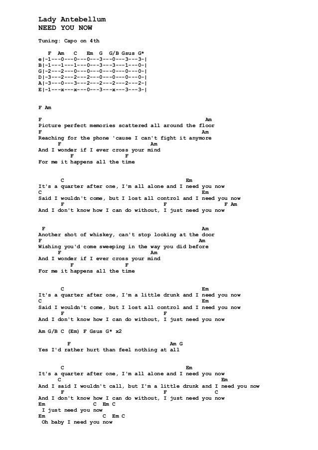 Need You Now Lady Antebellum Lyrics T Lady