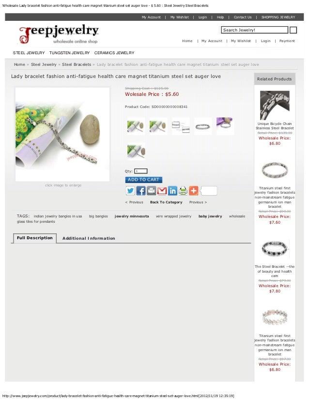 Wholesale Lady bracelet fashion anti-fatigue health care magnet titanium steel set auger love - $ 5.60 : Steel Jewelry Ste...