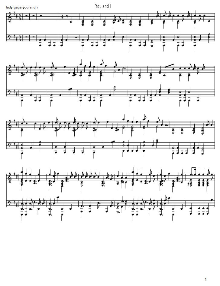 You and i lady gaga piano sheet music free download