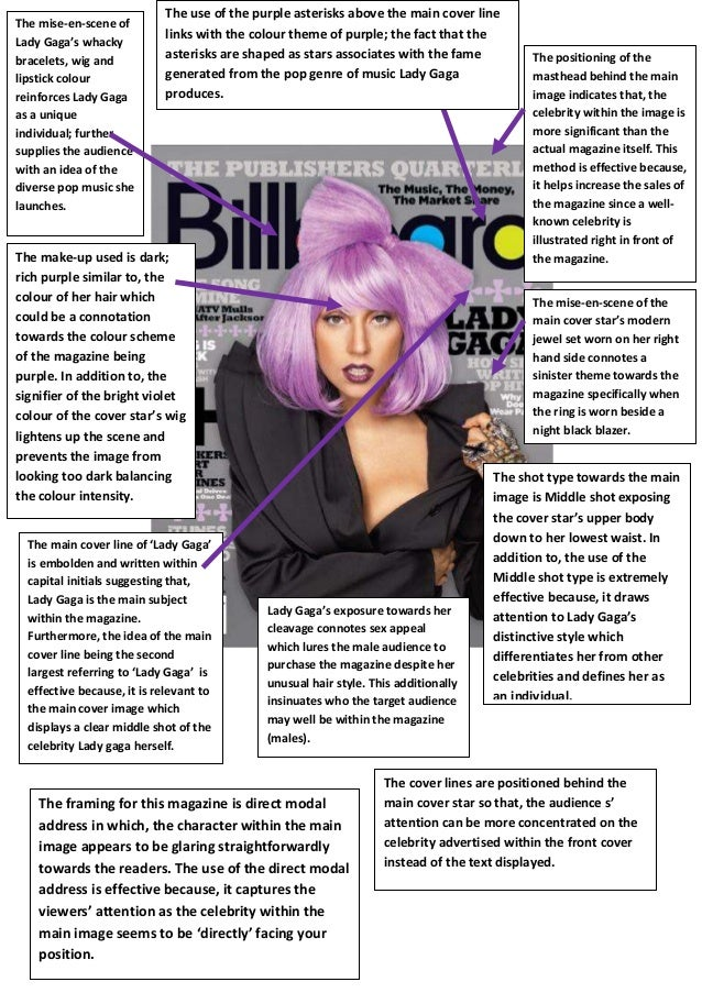 The mise-en-scene of Lady Gaga's whacky bracelets, wig and lipstick colour reinforces Lady Gaga as a unique individual; fu...