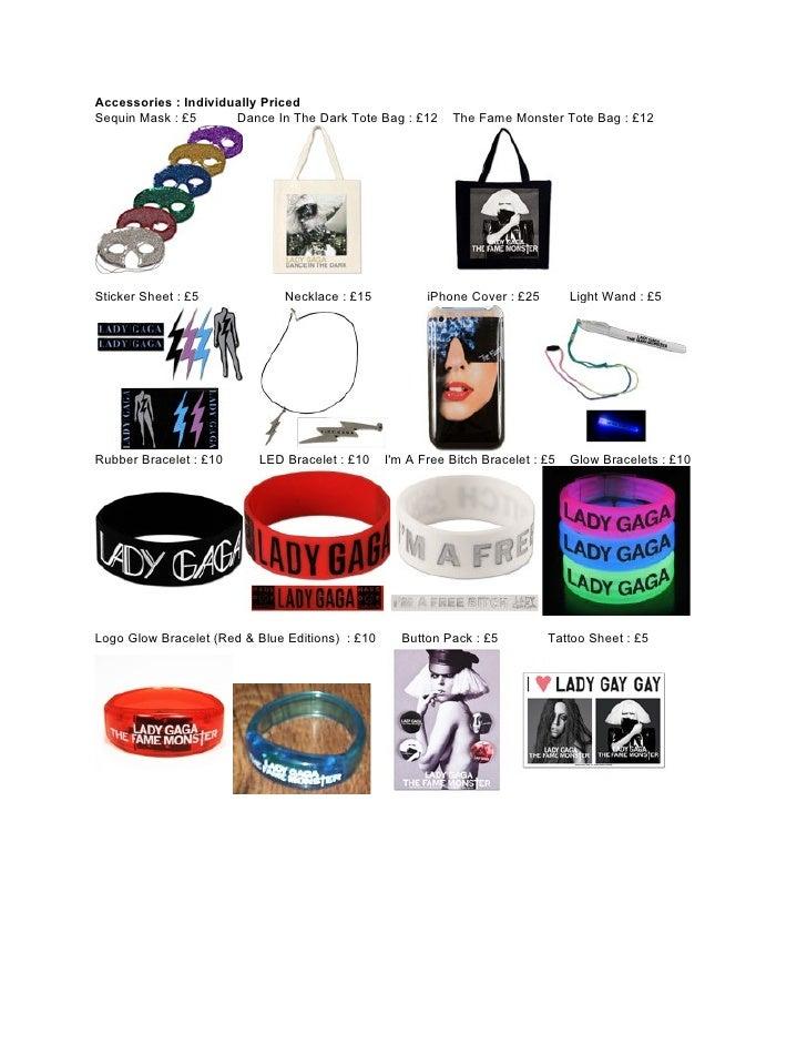 Lady Gaga Merchandise Catalogue