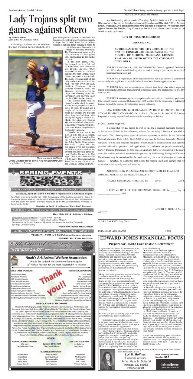 """Weekend Edition"" Friday, Saturday & Sunday, April 11-13, 2014 Page 5The Chronicle-News Trinidad, Colorado NOTICE OF PUBLI..."