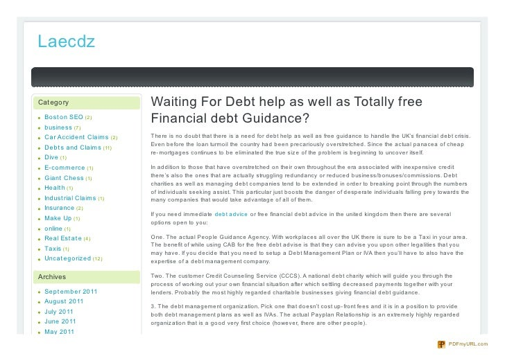 LaecdzCategory                   Waiting For Debt help as well as Totally free Bost on SEO (2)           Financial debt Gu...
