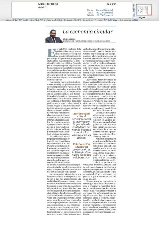 26/04/15ABC (EMPRESA) MADRID Prensa: Semanal (Domingo) Tirada: 153.907 Ejemplares Difusión: 108.064 Ejemplares Página: 23 ...