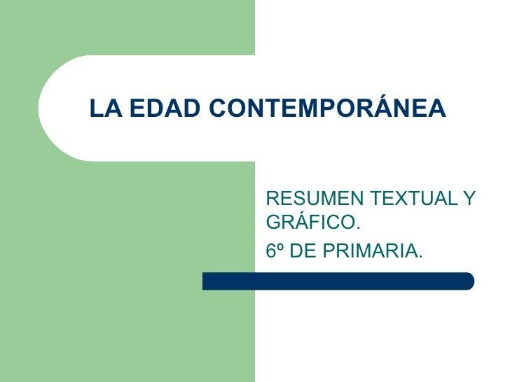 LA EDAD CONTEMPORÁNEA RESUMEN TEXTUAL Y GRÁFICO.  6º DE PRIMARIA.