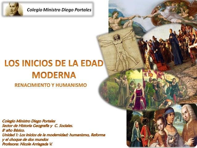 Colegio Ministro Diego Portales Sector de Historia Geografía y C. Sociales. 8°año Básico. Unidad 1: Los inicios de la mode...