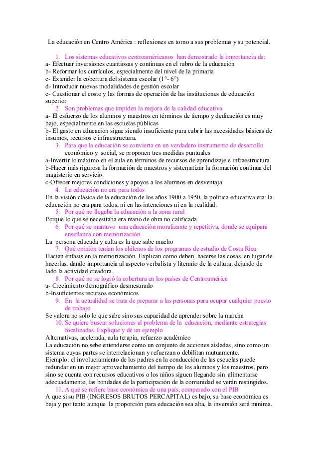 La educación en Centro América : reflexiones en torno a sus problemas y su potencial. 1. Los sistemas educativos centroamé...