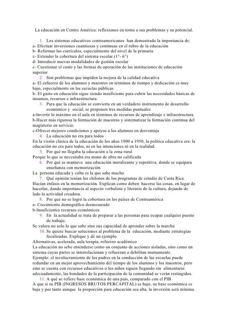 La educación en Centro América: reflexiones en torno a sus problemas y su potencial.      1. Los sistemas educativos centr...