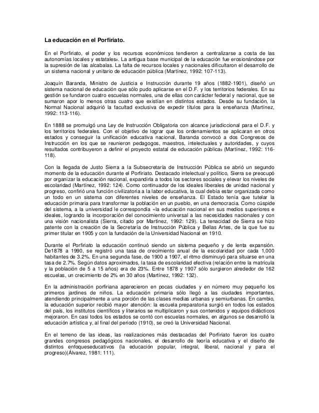 La educación en el Porfiriato. En el Porfiriato, el poder y los recursos económicos tendieron a centralizarse a costa de l...