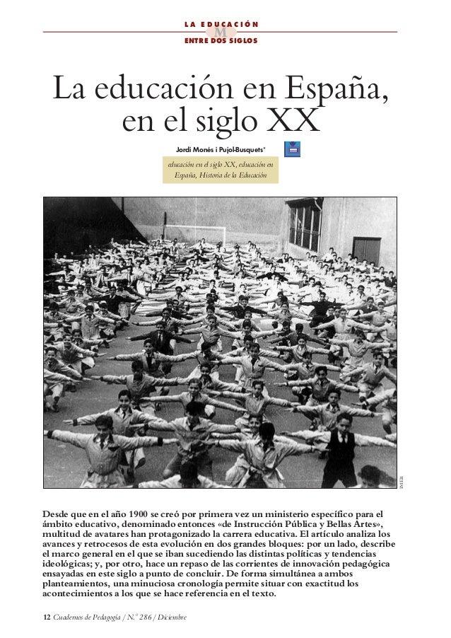 La Educacion En Espana Siglo Xx