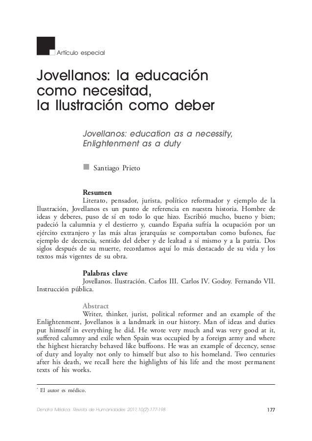Santiago Prieto  Artículo especial  Jovellanos: la educación como necesitad, la Ilustración como deber Jovellanos: educati...