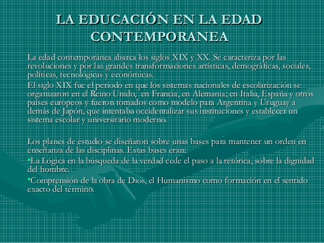 La educaci n en la edad contempor nea pp for Imagenes de epoca contemporanea