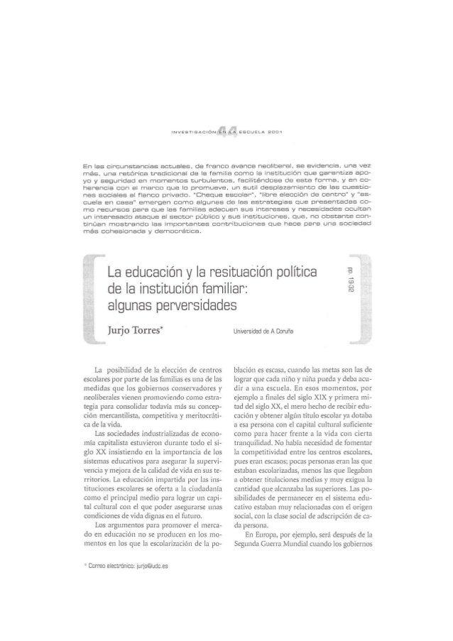 La educación y la resituación política de la institución familiar: algunas perversidades  - Jurjo Torres Santomé