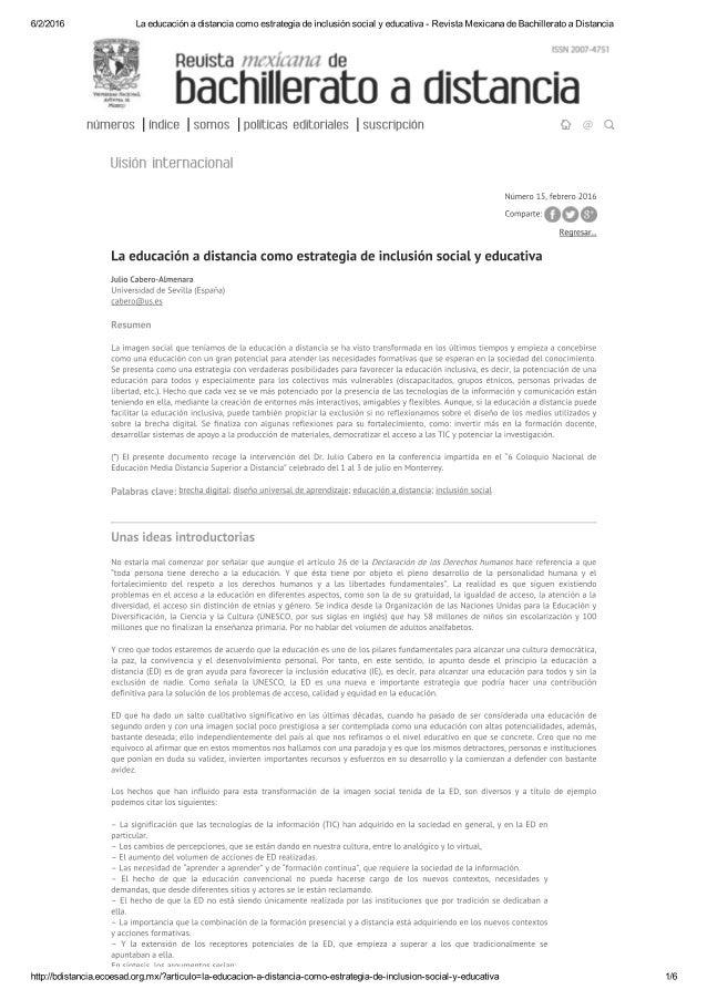 6/2/2016     números Iindice Isomos Ipollticas editoriales Isuscripcion  La educación a distancia como estrategia de inclu...