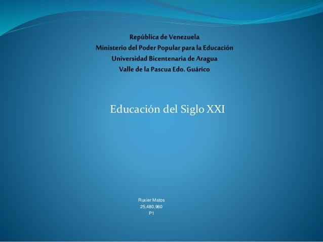 Educación del Siglo XXI Ruxier Matos 25,480,960 P1