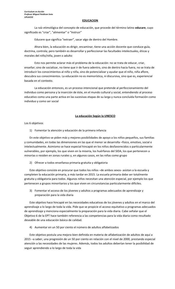 Curriculum en Acción Profesor Miguel Paidican Soto UPLACED                                                EDUCACION       ...