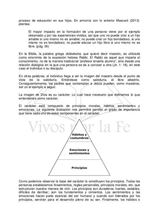 proceso de educación en sus hijos. En armonía con lo anterior Mascaró (2013) plantea: El mayor impacto en la formación de ...