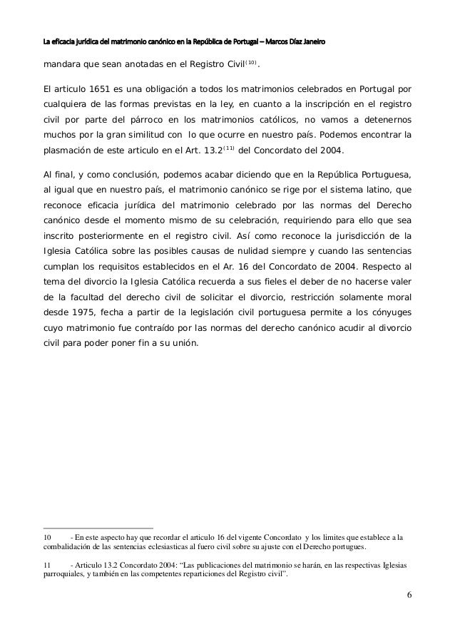 La eficacia jurídica del matrimonio canónico en la república de portu…