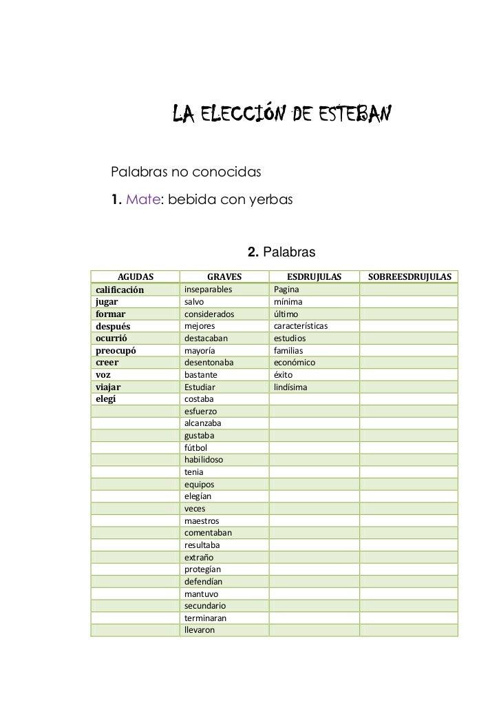 LA ELECCIÓN DE ESTEBAN<br />Palabras no conocidas<br />1. Mate: bebida con yerbas<br />2. Palabras<br />AGUDAS  GRAVES ESD...