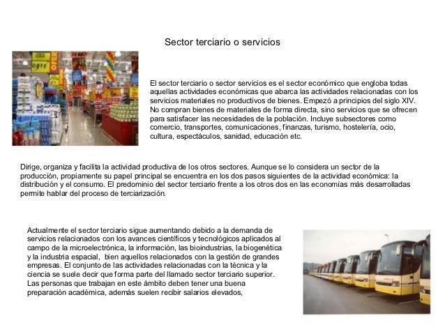 Sector terciario o servicios                                        El sector terciario o sector servicios es el sector ec...