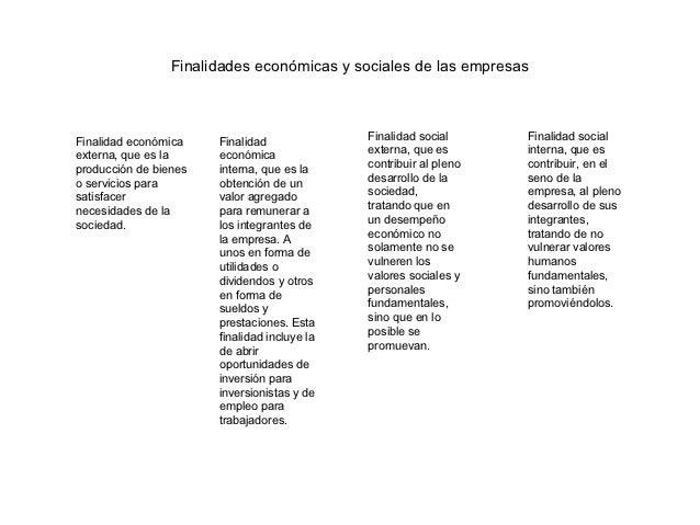Finalidades económicas y sociales de las empresasFinalidad económica    Finalidad              Finalidad social      Final...