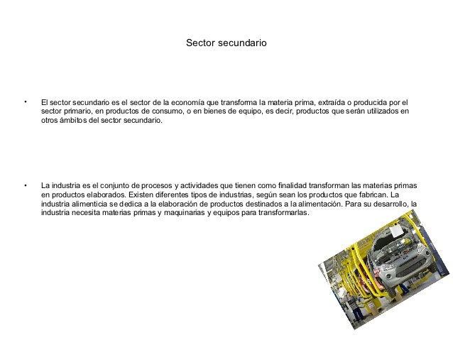 Sector secundario•   El sector secundario es el sector de la economía que transforma la materia prima, extraída o producid...
