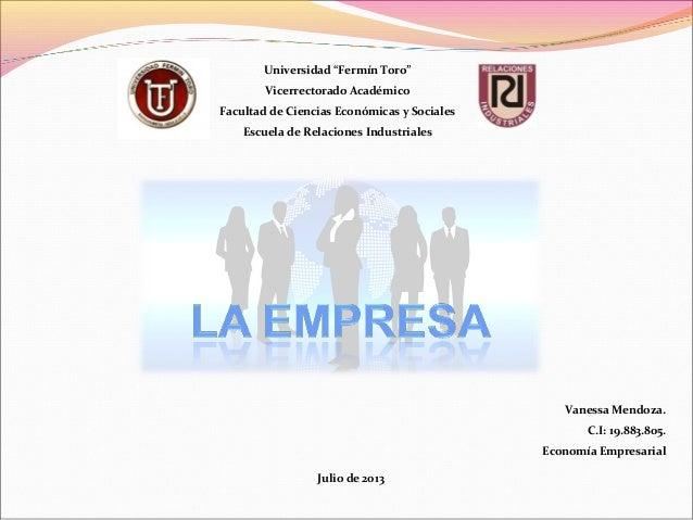 """Universidad """"Fermín Toro"""" Vicerrectorado Académico Facultad de Ciencias Económicas y Sociales Escuela de Relaciones Indust..."""