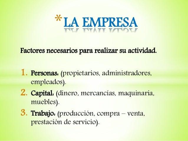 Factores necesarios para realizar su actividad. 1. Personas: (propietarios, administradores, empleados). 2. Capital: (dine...