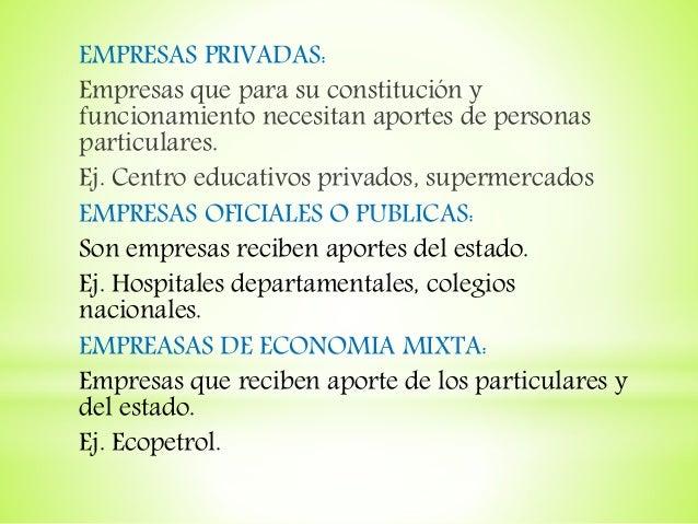 EMPRESAS PRIVADAS: Empresas que para su constitución y funcionamiento necesitan aportes de personas particulares. Ej. Cent...