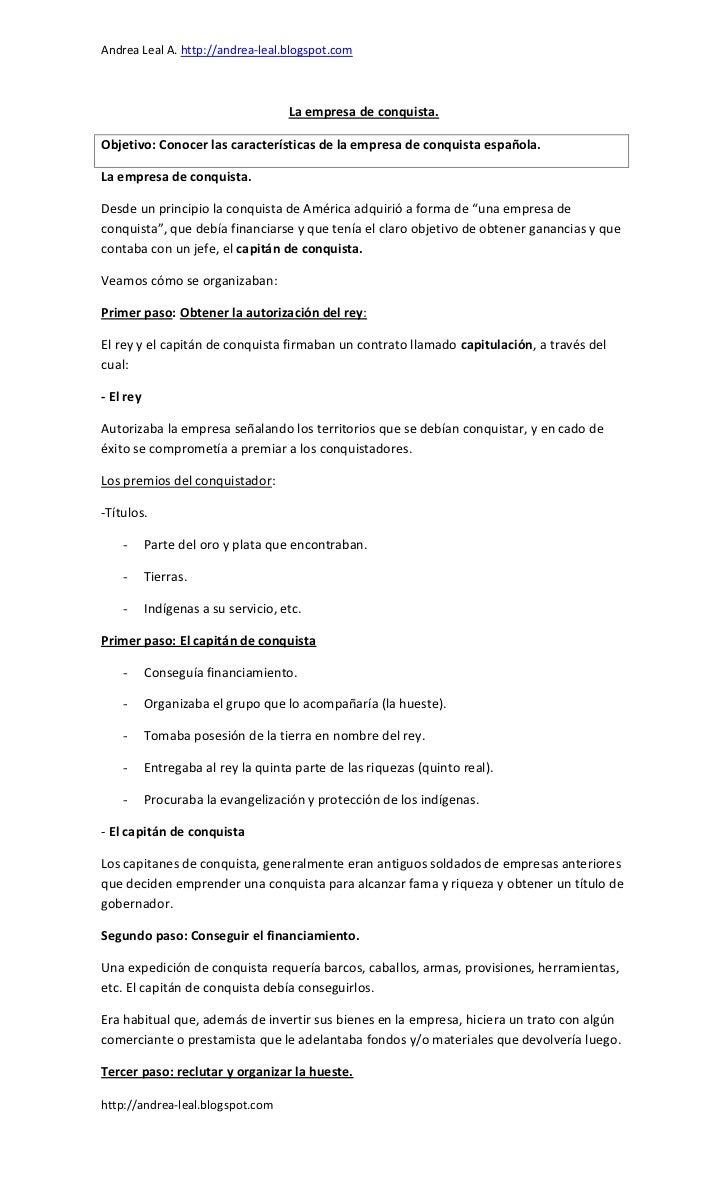 Andrea Leal A. http://andrea-leal.blogspot.com                                     La empresa de conquista.Objetivo: Conoc...