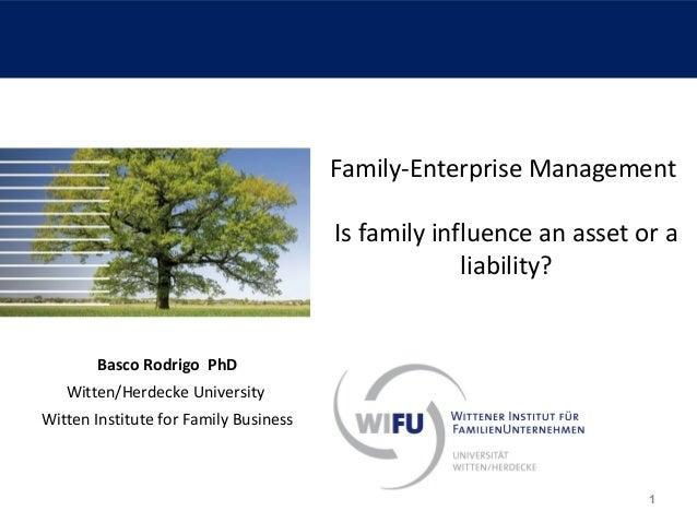 Family-Enterprise Management Is family influence an asset or a liability?  Basco Rodrigo PhD Witten/Herdecke University Wi...