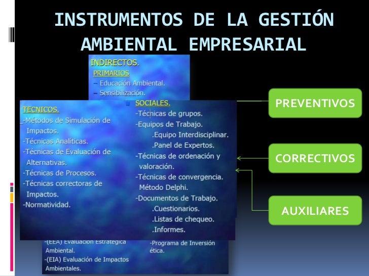 INSTRUMENTOS DE LA GESTIÓN  AMBIENTAL EMPRESARIAL                    PREVENTIVOS                    CORRECTIVOS           ...