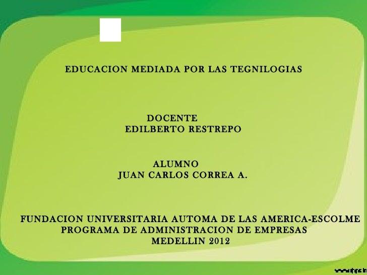 EDUCACION MEDIADA POR LAS TEGNILOGIAS                    DOCENTE                EDILBERTO RESTREPO                     ALU...