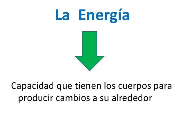 La Energía Capacidad que tienen los cuerpos para producir cambios a su alrededor