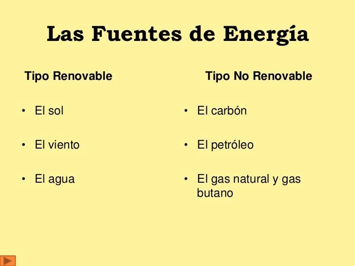 Las Fuentes de EnergíaTipo Renovable       Tipo No Renovable• El sol         • El carbón• El viento      • El petróleo• El...