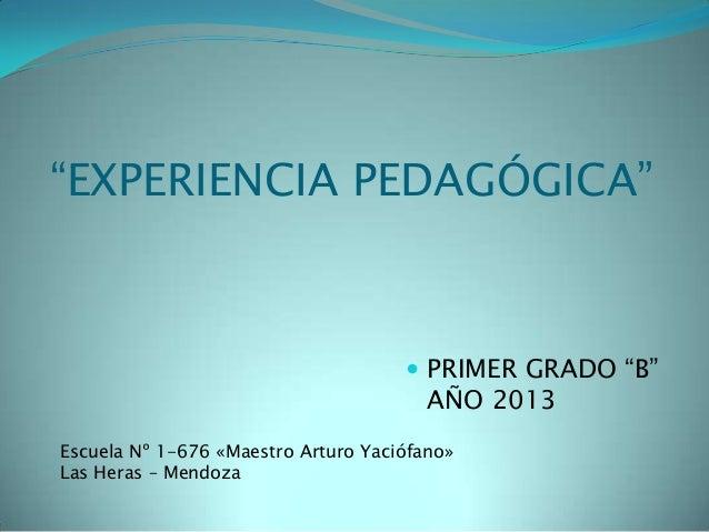 """""""EXPERIENCIA PEDAGÓGICA""""  PRIMER GRADO """"B"""" AÑO 2013 Escuela Nº 1-676 «Maestro Arturo Yaciófano» Las Heras – Mendoza"""