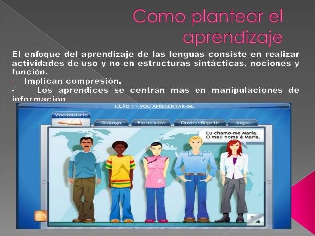 Cosmo ¡3 CíiT¡'6Cíi' el (:5 ¡:3 r  n c?  lÏZ Qu   El enfoque del aprendizaje de las lenguas consiste en realizar actividad...