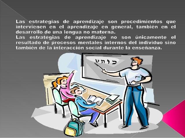 Las estrategias de aprendizaje son procedimientos que intervienen en el aprendizaje en general,  también en el desarrollo ...