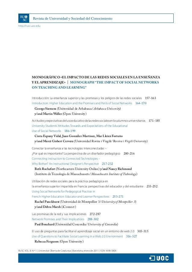 http://rusc.uoc.edu RUSC VOL. 8 N.º 1   Universitat Oberta de Catalunya   Barcelona, enero de 2011   ISSN 1698-580X MONOGR...