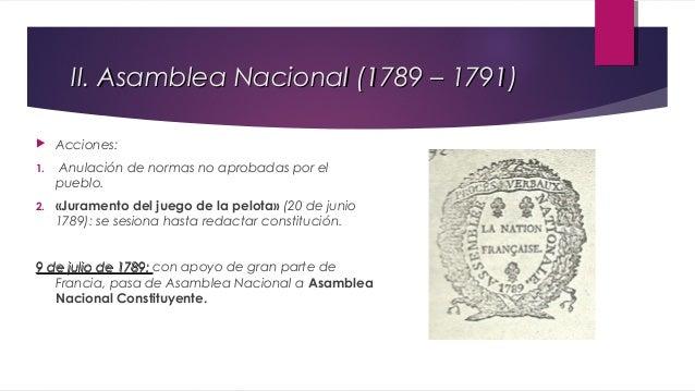 II.1 Asamblea Nacional Constituyente   Eventos importantes:  1.  Toma de la Bastilla (14 de julio 1789): ataque de sans-c...