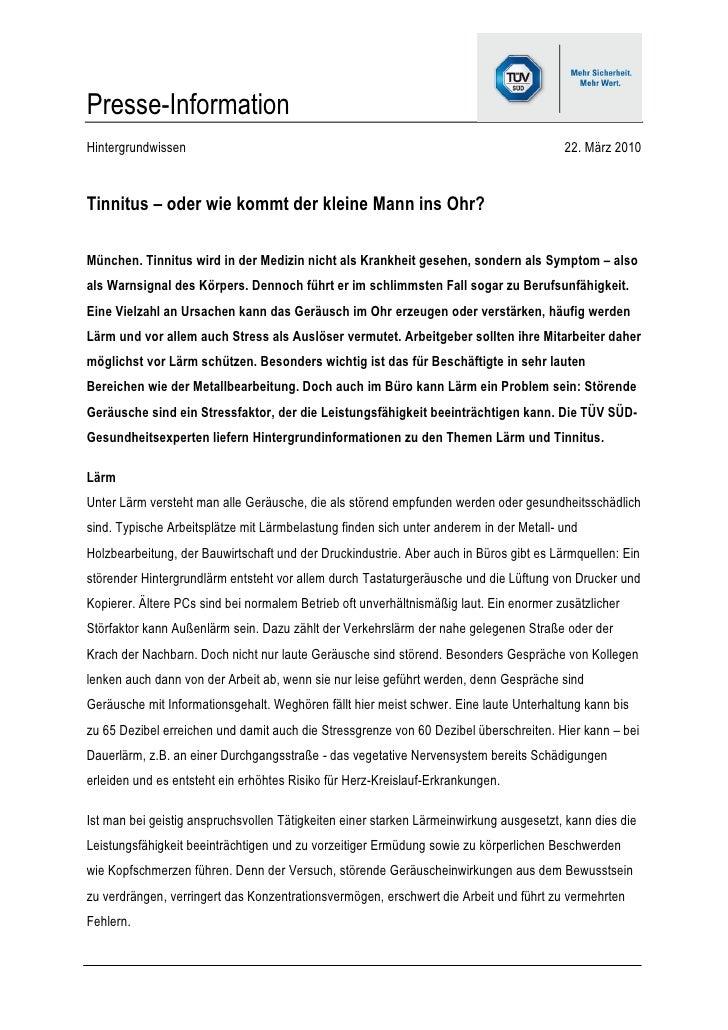 Presse-InformationHintergrundwissen                                                                       22. März 2010Tin...