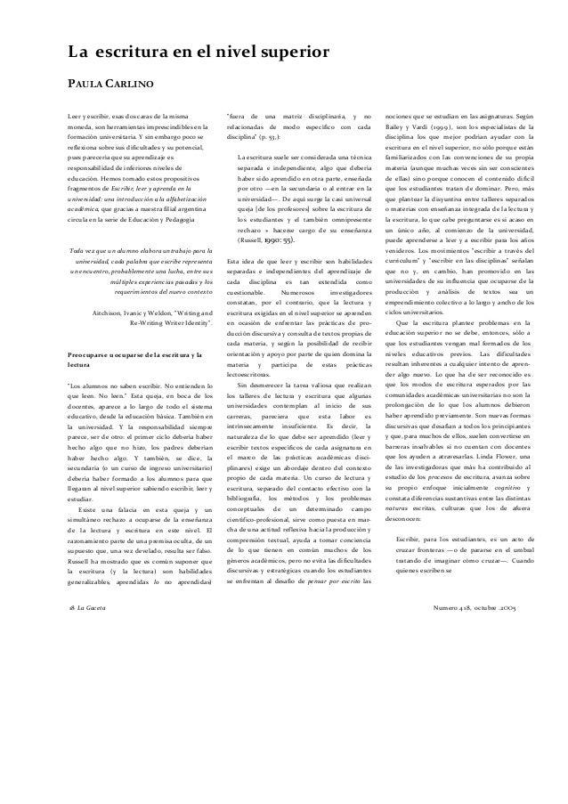 ALFABETIZACIÓN ACADÉMICA DE LA DOCTORA PAULA CARLINO