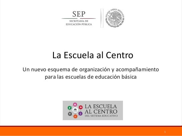 1 Un nuevo esquema de organización y acompañamiento para las escuelas de educación básica La Escuela al Centro