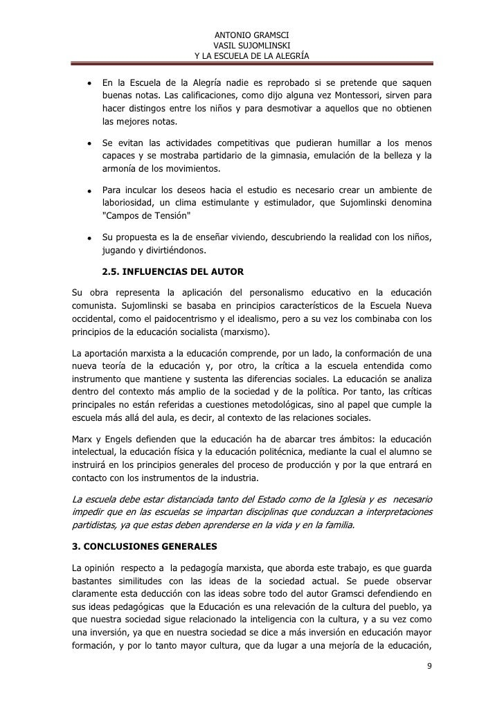 ANTONIO GRAMSCI                                   VASIL SUJOMLINSKI                              Y LA ESCUELA DE LA ALEGRÍ...