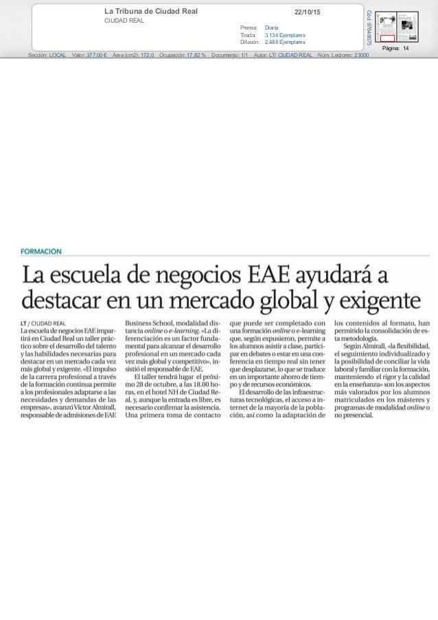 22/10/15La Tribuna de Ciudad Real CIUDAD REAL Prensa: Diaria Tirada: 3.134 Ejemplares Difusión: 2.488 Ejemplares Página: 1...
