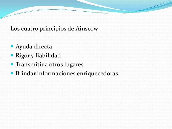 Los cuatro principios de Ainscow Ayuda directa Rigor y fiabilidad Transmitir a otros lugares Brindar informaciones enr...