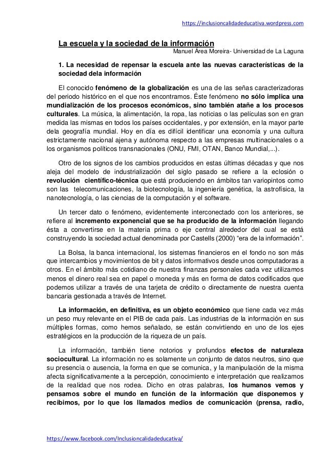 https://inclusioncalidadeducativa.wordpress.com https://www.facebook.com/Inclusioncalidadeducativa/ La escuela y la socied...