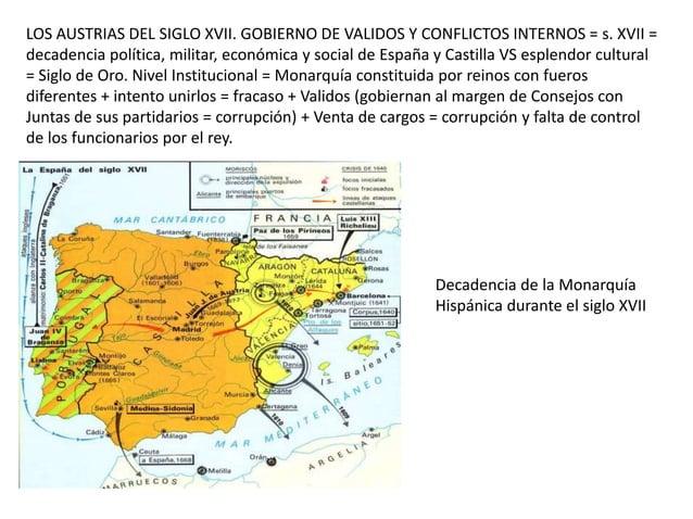 LOS AUSTRIAS DEL SIGLO XVII. GOBIERNO DE VALIDOS Y CONFLICTOS INTERNOS = s. XVII = decadencia política, militar, económica...