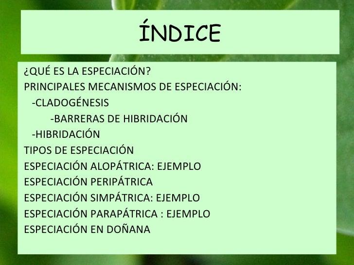 ÍNDICE ¿QUÉ ES LA ESPECIACIÓN? PRINCIPALES MECANISMOS DE ESPECIACIÓN: -CLADOGÉNESIS -BARRERAS DE HIBRIDACIÓN -HIBRIDACIÓN ...